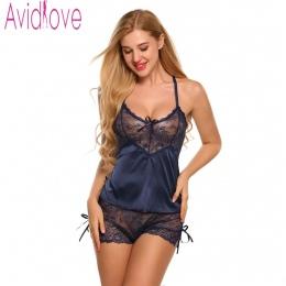 Avidlove Homewear Sexy Silk Satin Piżama damska Bielizna Zestaw Koronki Piżama Mujer Dekolt Koszula Nocna Bielizna Nocna Bielizn