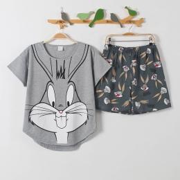 Krótkie spodnie + krótki rękaw bluzki piżama ustawia bawełniana bielizna nocna duże stocznie M-XXL cartoon piżamy damskie lato b