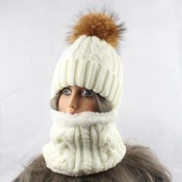 2019 kobiet czapki z szalikiem ciepły polar wewnątrz Beanie dziewczyny czapka zimowa dla kobiet prawdziwe futro z norek pompon f