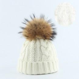 2019 kobiety czapka zimowa ciepły polar wkładka czapka futro czapki dla kobiet prawdziwe pompon futrzany kapelusz rodzic dziecko