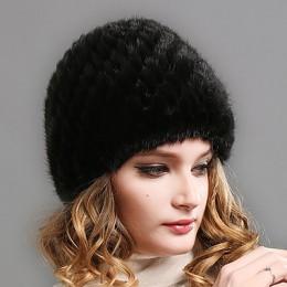 FURTALK futra norek czapka kapelusz kobiety zimowa z dzianiny z dzianiny kapelusz rosyjski kobiet luksusowa marka czapka z futra