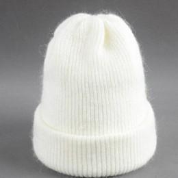 Kobiety czapka zimowa z dzianiny kobiet ciepłe królik puch czapka dziewczyna stałe Bonnet femme Skullies czapki miękkie czapki d