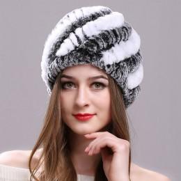 ICYMI naturalne Rex kapelusz z futra króliczego elastyczna czapka z dzianiny z pasek projekt Handmade prawdziwe futro kapelusz p