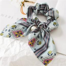 2019 nowy szyfonu Bowknot jedwabne gumki do włosów kobiet perła uchwyt kucyk włosów krawat włosów liny opaski gumowe akcesoria d