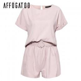 Affogatoo na co dzień dwuczęściowy romper kobiety kombinezon solidna streetwear playsuit lato kombinezon wysokiej talii koszula