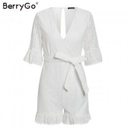 BerryGo Sexy głęboki dekolt w serek kombinezon romper kobiety potargane hollow out haft bawełna biały playsuit elegancki sashes