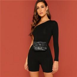 SweatyRocks stałe jedno ramię Skinny Romper moda z długim rękawem Skinny kombinezony 2019 kobiety lato Streetwear kombinezony