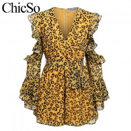 MissyChilli Leopard szyfonowa kombinezon z długim rękawem kobiety elegancki wzburzyć sexy romper Party klub zima kobiet klub kró