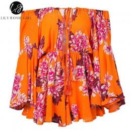 Lily Rosie dziewczyna Off ramię Flare rękaw lato Playsuit kwiatowy Print Boho plaża Playsuit kobiety pomarańczowy krótki kombine