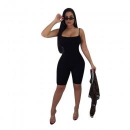ANJAMANOR czarny Sexy jednoczęściowy kombinezon w stylu bodycon Biker spodenki bandaż Romper kobiety kombinezony Streetwear suki