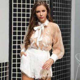 Yesexy 2019 kobiety Sexy O Neck przepuszczalność Top jednolity kolor krótki 2 sztuk zestaw Lace-Up muszka kombinezony krótki kom