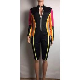 HAOYUAN 2019 nowy Sexy Mesh łączenie Playsuit kobiet Streetwear z przodu na zamek błyskawiczny z długim rękawem szorty kombinezo