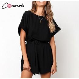 Conmoto stałe na co dzień 2019 lato kobiety kombinezony Romper plaża pas krawat luźne wysokiej moda bawełna Playsuit