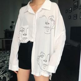 2019 nowy lato bluzka koszula kobiet bawełna twarz drukowanie z długim rękawem koszule damskie topy odzież damska