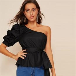 SHEIN Sexy jedno ramię Puff rękawem Peplum węzeł popędzający bluzka kobiety lato 2019 stałe wzburzyć elegancka bluzka