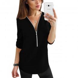 Zamek błyskawiczny z krótkim rękawem koszule damskie Sexy V Neck solidna damska popy i bluzki koszulka casual koszulki z krótkim