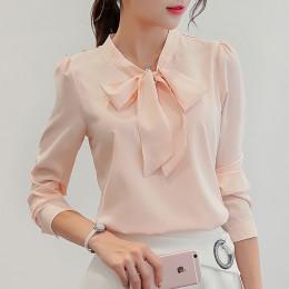 Harajuku nowa wiosna lato bluzka damska z długim rękawem koszulki z krótkim rękawem moda wypoczynek szyfonowa koszula łuk biuro