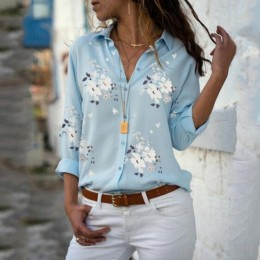 Kobiet topy bluzki 2019 jesień eleganckie z długim rękawem druku dekolt w serek szyfonowa bluzka damska odzież robocza koszule P