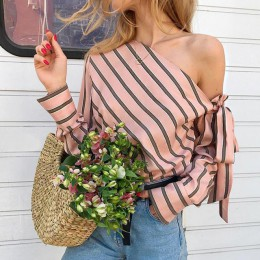 Umeko bluzka w paski kobiety jedno ramię bluzki Sexy z długim rękawem łuk koszule damskie moda bluzki damskie 2019 Chemisier Fem