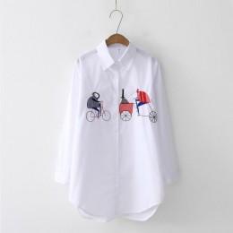 2019 nowy biała koszula na co dzień nosić przycisk Up skręcić w dół kołnierz bawełniana bluzka z długim rękawem haft Feminina go