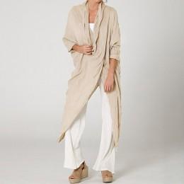 2019 Celmia Plus Size kobiety popy i bluzki w stylu Vintage długi Shirt na co dzień osłona szyi długi rękaw luźne asymetryczne B