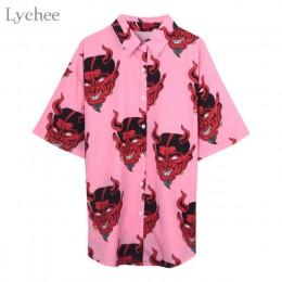 Lychee Harajuku Demon drukuj lato kobiety bluzka Punk Gothic Casual luźna koszula z krótkim rękawem topy kobiet