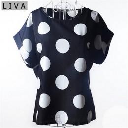 Big Dot bluzka lato z krótkim rękawem kobiety szyfonowa bluzka Casual koszule cienki kobiet topy Blusas stałe panie tanie odzież