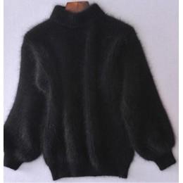 2019 zima nowe mody zagęszczony ciepły sweter z golfem moher kobiecy sweter latarnia rękaw Casual jednolity kolor Slim prosty sw