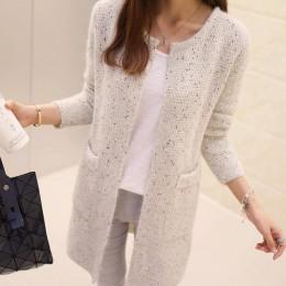 TIGENA długi sweter kobiet 2019 wiosna jesień z długim rękawem szydełkowy sweter kobiet sweter kobiety z dzianiny kurtka topy