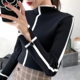 Sweter kobiet miękkie koreański styl Skinny zima sweter z golfem kobiety Bodycon podstawowe swetry z długim rękawem Pull Femme p