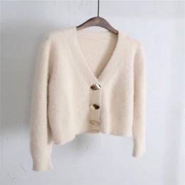 RUGOD stałe eleganckie kobiety swetry rozpinane na co dzień z dekoltem w kształcie litery v swetry damskie z dzianiny swetry Sli