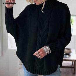 Sweter z golfem kobiet luźny pulower z dzianiny Jumper kobieta zima 2019 jesień Streetwear Plus rozmiar różowy Pull Femme Mujer