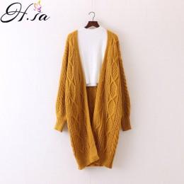 H. SA zima jesień długi kobieta Cardigans latarnia rękawem Casual z dzianiny Poncho swetry ponadgabarytowych długie swetry rozpi