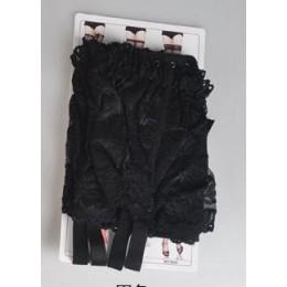Pas do pończoch burleskowe szerokie, głębokie jedwabiste koronkowe, czarny, biały i czerwony + 1 sztuk pończochy za darmo