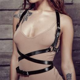 Punk Goth skórzane szelki Body do bondage pas Cage rzeźbienie pasek do talii-skórzany klatki piersiowej pasy Slim ciała klamra n