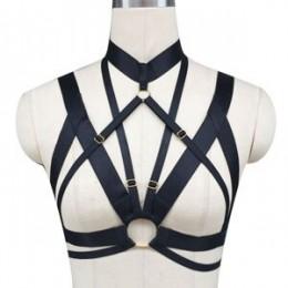 Hot kobiety stanik z uprzężą ciała crop top elastan dostosować klatka biustonosz szelki seksowne bodystocking Goth harajuku szel