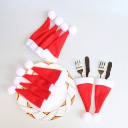 Nowy 10 sztuk boże narodzenie czapki uchwyt na sztućce widelec łyżka kieszeń dekoracje świąteczne torba 10.30