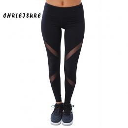 CHRLEISURE Sexy Kobiety Legginsy Gothic Wkładka Mesh Projekt Spodnie Spodnie Duży Rozmiar Czarny Capris Sportowej Nowy Fitness L