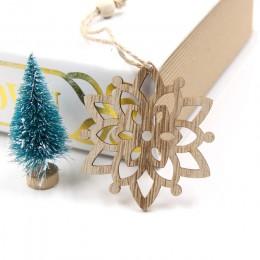 6 sztuk europejskie Hollow boże narodzenie płatki śniegu drewniane zawieszki ozdoby na ozdoba na choinkę dekoracje na przyjęcie