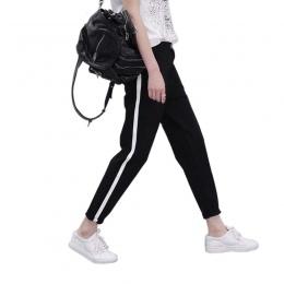 2018 Wiosennych Damskie Spodnie Dresowe Harem Spodnie Luźne Spodnie Na Co Dzień Dla Kobiet Czarne Paski Boczne Sweat Pants Samic