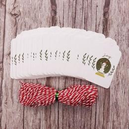 50 sztuk/partia wesołych świąt bożego narodzenia DIY unikalne zawieszka na prezent radość na świecie małe karty opcjonalne ciąg