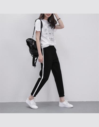 cab7ccfacba3 2018 Wiosennych Damskie Spodnie Dresowe Harem Spodnie Luźne Spodnie Na Co  Dzień Dla Kobiet Czarne Paski
