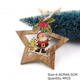 4 sztuk boże narodzenie Star drewniane wisiorki ozdoby ozdoba na choinkę DIY drewniane rzemiosła dzieci prezent dla domu dekorac