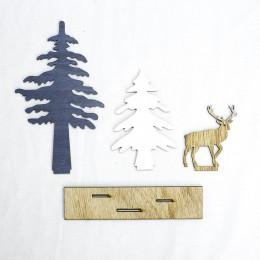 Drewniana choinka renifer boże narodzenie dekoracje  ozdoby świąteczne dla dzieci