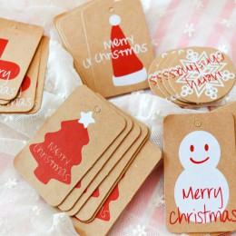 100 sztuk/partia wesołych wesołych świąt Kraft etykieta papierowa ozdoby dekoracje do domu partii Faovrs Xmas drzewa dekoracje p