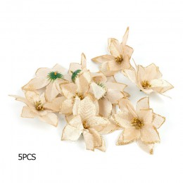 5/10 sztuk sztuczne kwiaty boże narodzenie ozdoby choinkowe dekoracje na boże narodzenie dla domu Xmas choinka nowy rok Decor Na