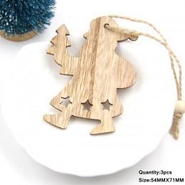3 sztuk w stylu Vintage boże narodzenie drewniane zawieszki ozdoby DIY drewniane ozdoby świąteczne ozdoby choinkowe dekoracje na