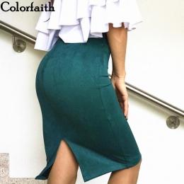 Wielu kolorach 2017 Kobiety Spódnica Zima Zamszowe Stałe Work Wear Pakiet Hip Ołówek Midi Spódnica Jesień Zima Bodycon Femininas