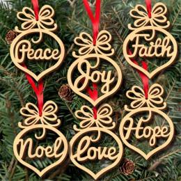 6Pc wesołych świąt dekoracje na boże narodzenie dla domu drewniane ozdoby choinkowe wiszące wisiorek dekoracje świąteczne dekora