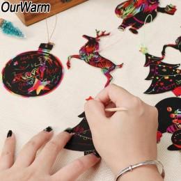 OurWarm 24 sztuk magia kolor Scratch ozdoby świąteczne uroczy papier wisiorki Xmas Tree dekoracje Kids Party Supplies